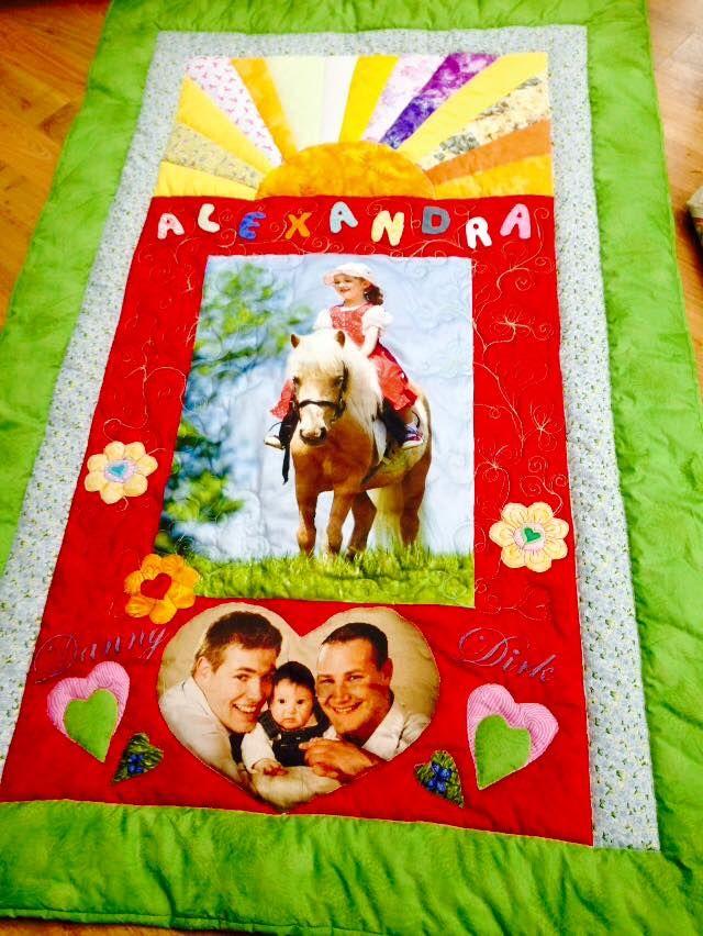 Alexandra`s Quilt, Kinderquilt, Geschenk, Geburtstagsquilt, eigener Entwurf, Stoffdruck, Applikationen, 2016