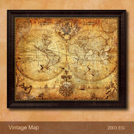 Antique Style Historical Globe Map Custom Frame Decorative Stained ...