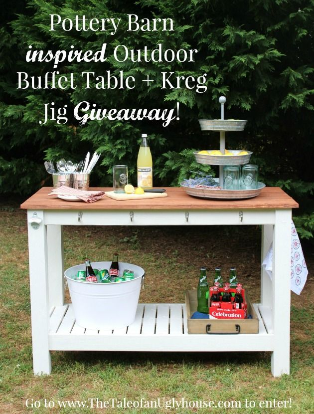 Pottery Inspired Outdoor Buffet Table Building Plans And A Kreg Jig Giveway