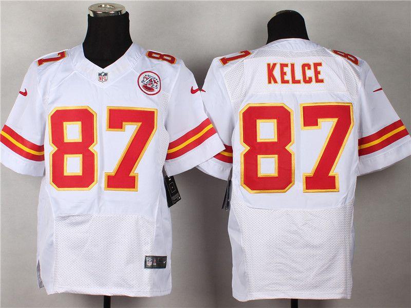 half off e3efe a0fa3 Kansas City Chiefs #87 Travis Kelce White NFL Elite Jersey ...