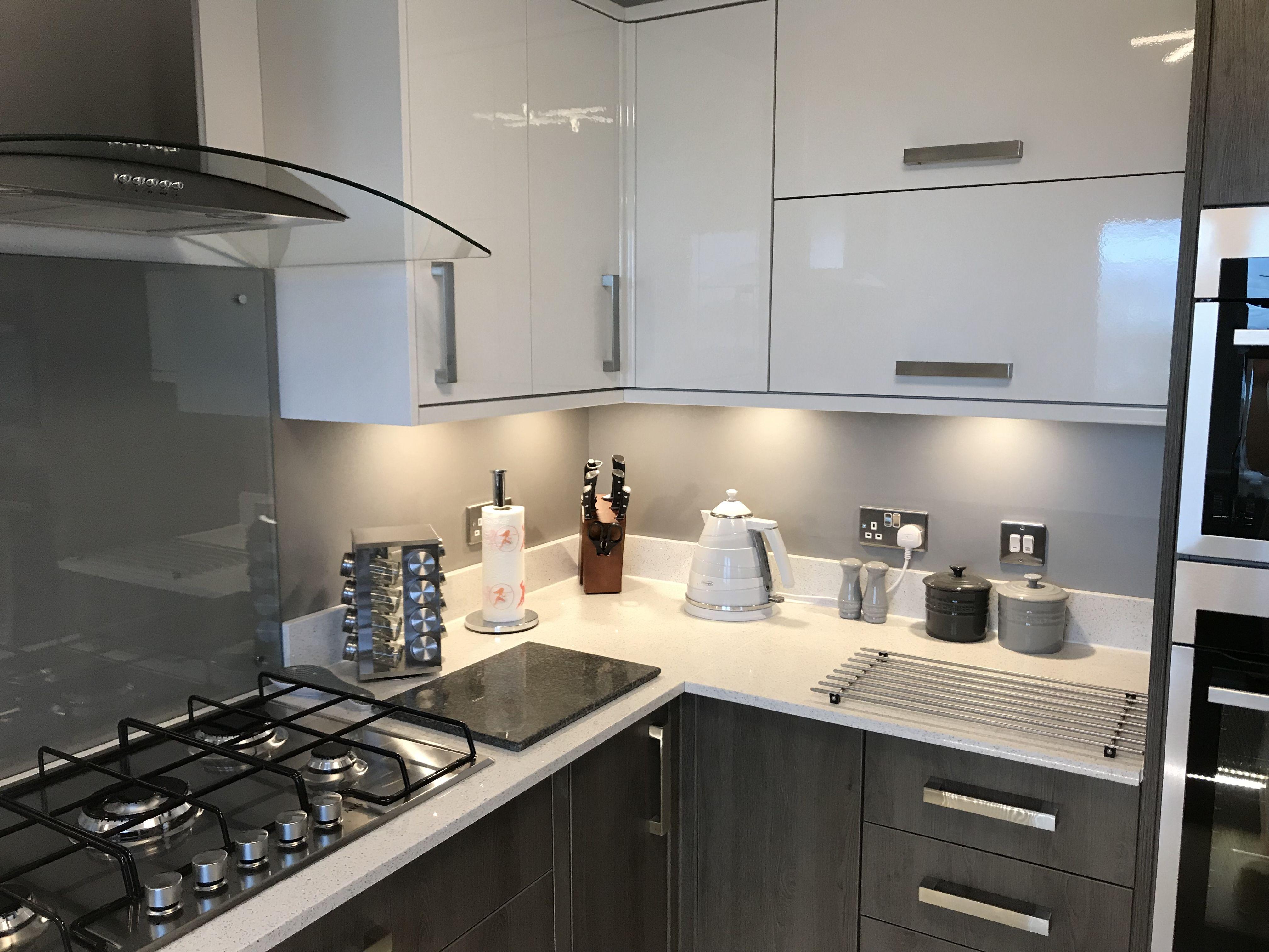 White Kitchen With Grey Sparkle Worktop