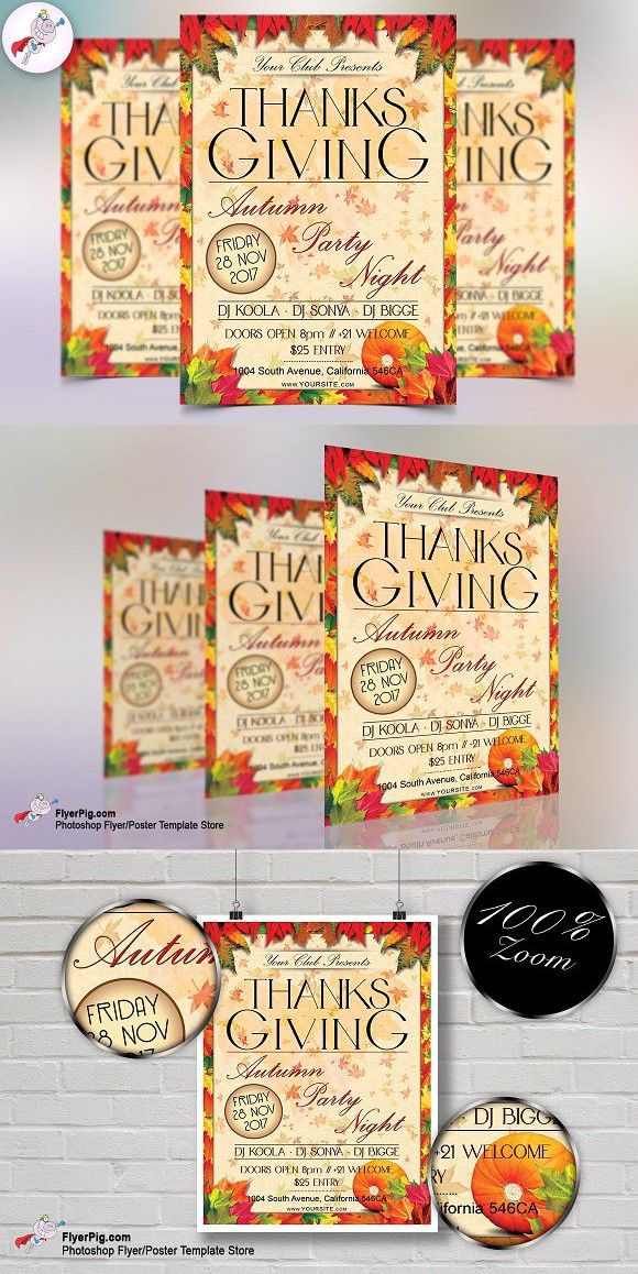 Thanksgiving Party Flyer Template Flyers, Fonts and Invitations - Invitation Flyer Template