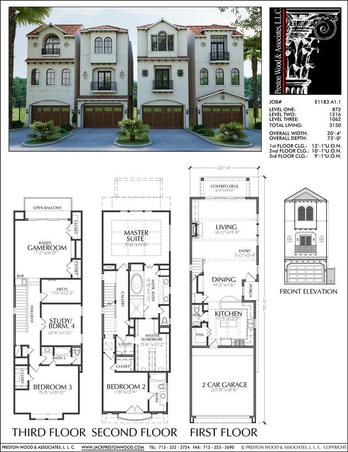 Townhouse Plan E1183 A1 1 Town House Plans House Plans Town House Floor Plan