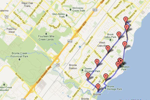 Oakville Half Marathon: 10K & 10K Student Relay course route!