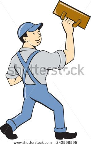 Illustration of a plasterer masonry tradesman construction worker standing with trowel looking to the side viewed from rear set on isolated white background done in cartoon style. #plasterer #cartoon #illustration