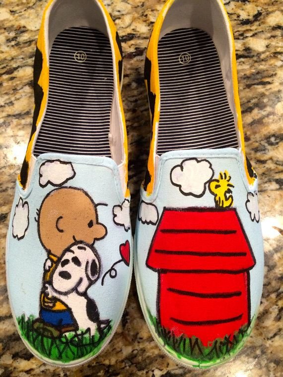 Charlie Brown and Snoopy Shoes by DarlingMyDear on Etsy, $40.00