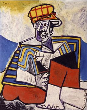 """Lot 42, """"Le Fumeur,"""" by Pablo Picasso, oil on panel, 39 3/8 by 31 7/8 inches, 1953"""