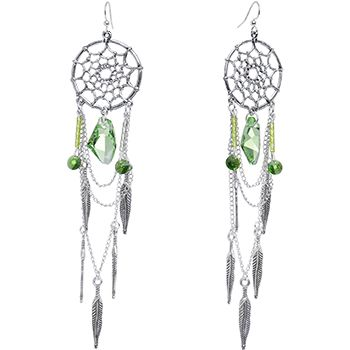bb2b00f92 Handcrafted Back to Nature Dreamcatcher Chandelier Earrings MADE WITH  SWAROVSKI ELEMENTS | Body Candy Body Jewelry