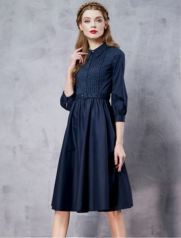 40s Style Button Down Embroidery Dress