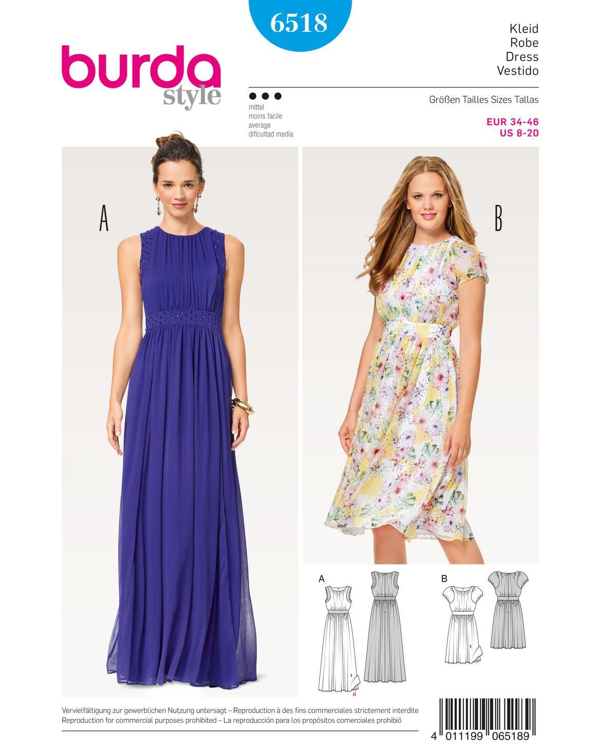 burda style, Katalog Schnitt, Kleid F/S 2017 #6518A, Elegantes ...