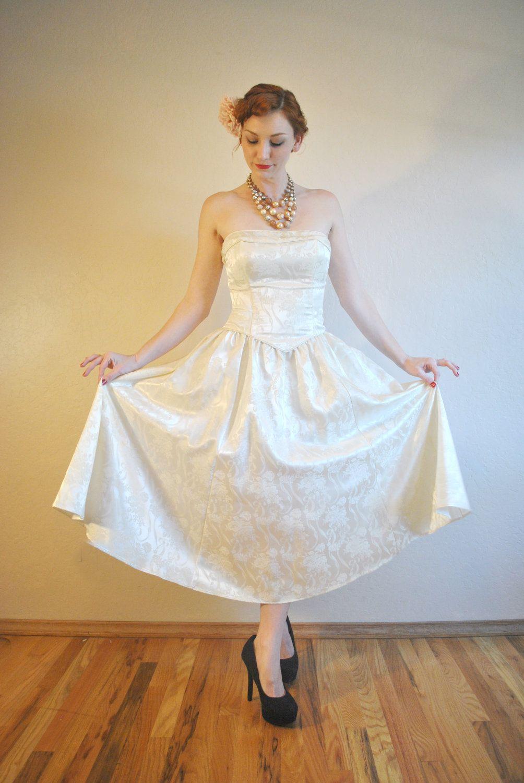 50s style Vintage Wedding Dress Strapless Tea Length