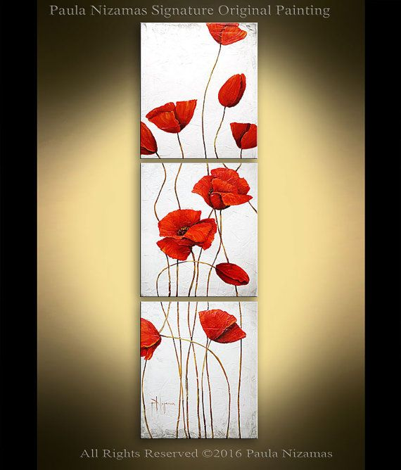 Oil painting on canvas Poppies Textured Red and Blue Art Wall Decor ...