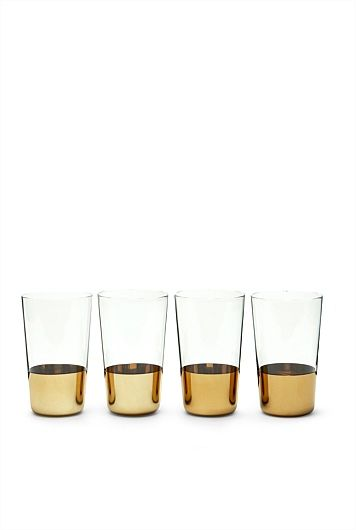 Purchased Tide Gold Hi Ball Set Of 4 Tableware Gold
