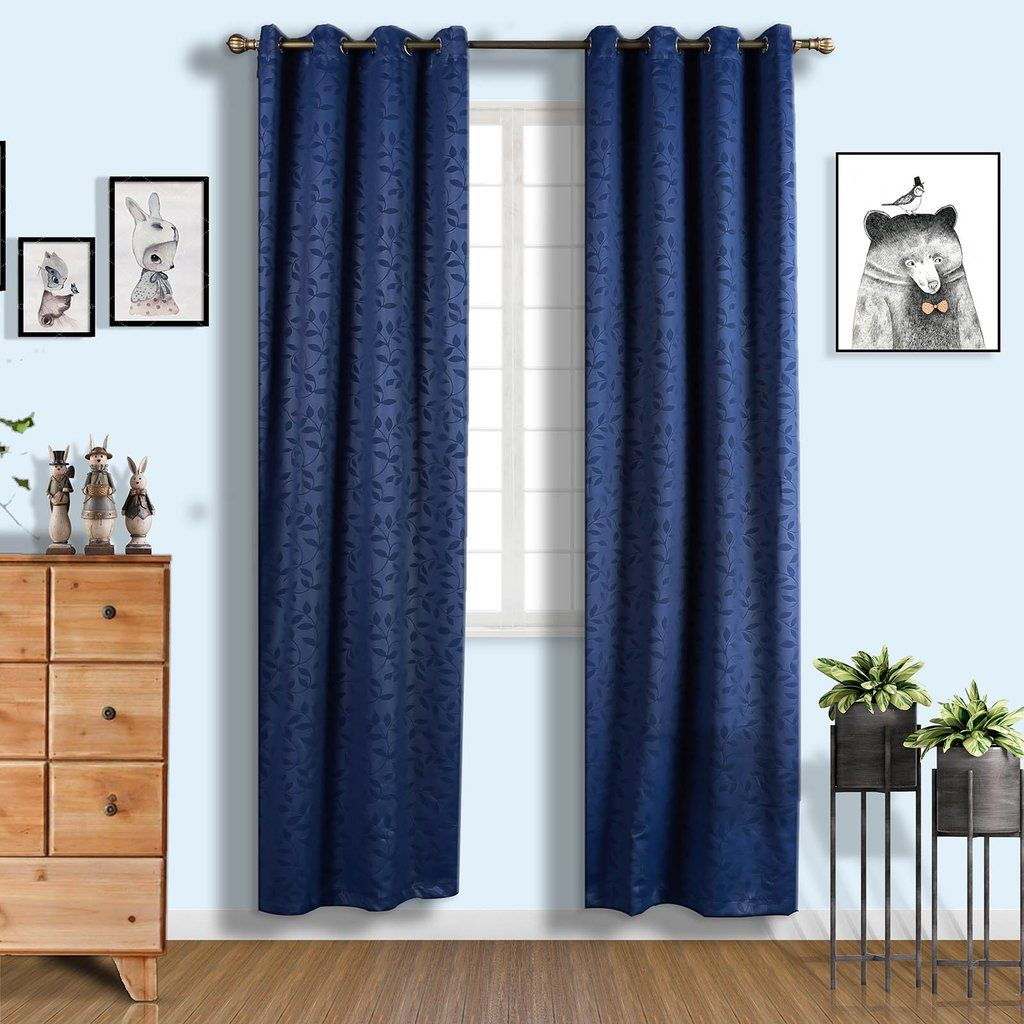 Navy Blue Soundproof Curtains Pack Of 2 Embossed Curtains 52 X