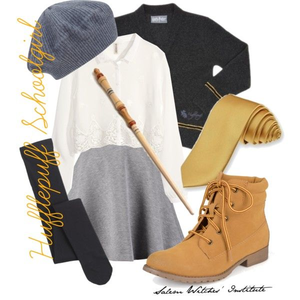 Hufflepuff Schoolgirl by salemwitchesinstitute on Polyvore featuring H&M, Tiger of Sweden, Falke, Madden Girl and Cash Ca