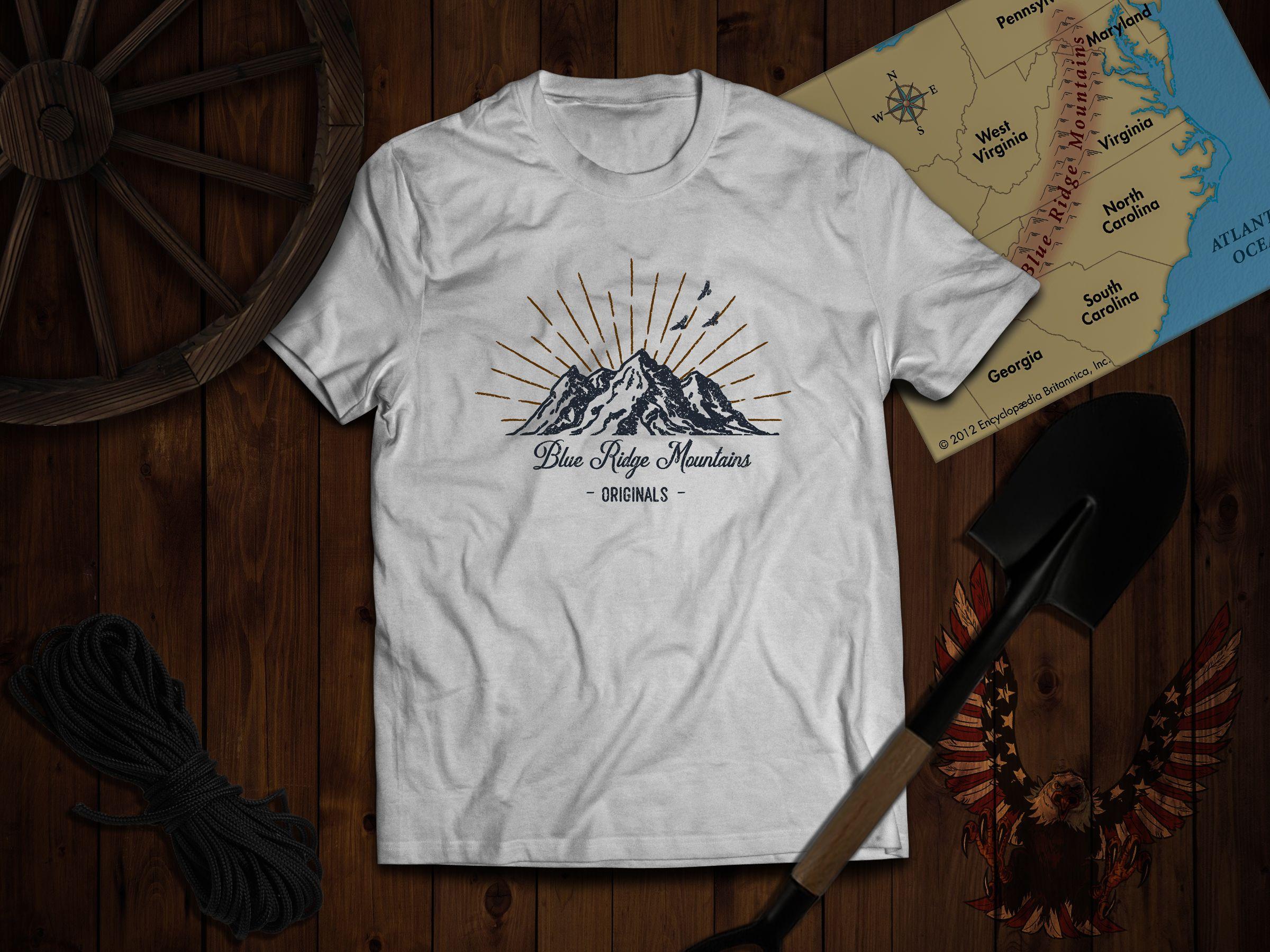 Blue Ridge Moutanis Retro Vintage Orginals T Shirt Must Have Usa