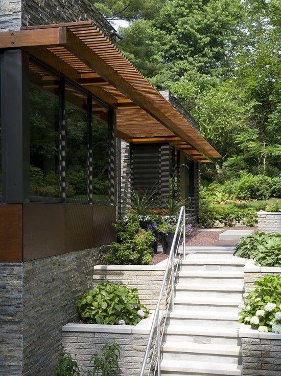 contemporary home garden ideas retaining walls flowers wooden pergola design - Contemporary Home Garden Ideas Retaining Walls Flowers Wooden