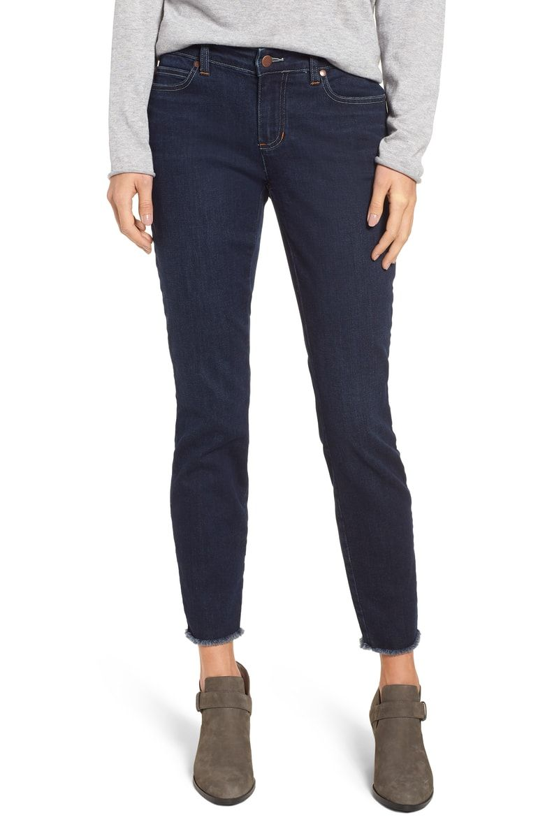6888987c18c80e Free shipping and returns on Eileen Fisher Raw Edge Slim Ankle Jeans  (Washed Indigo)