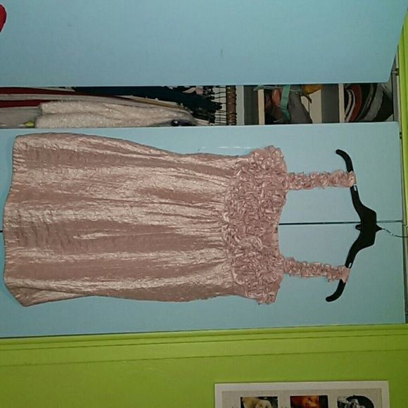 Metalic blush pink dress Size 16 metallic pink dress  Has a small ruffled desig on the top. In great condition. Worn once. Super cute for spring time. Very breathable dress. Odor free. From a smoke free pet free home Dresses