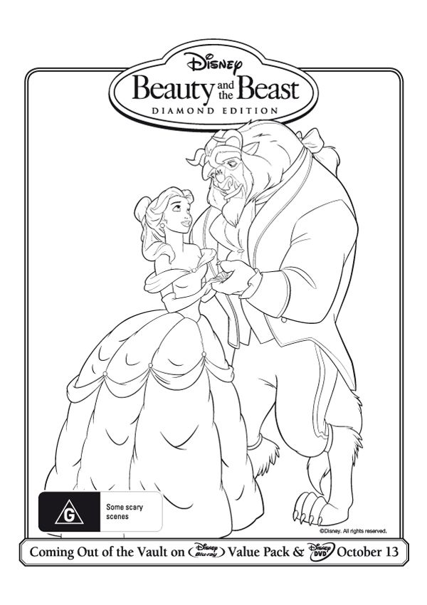 Free Online Beauty and the Beast Colouring Page 2 | Beast, Free ...
