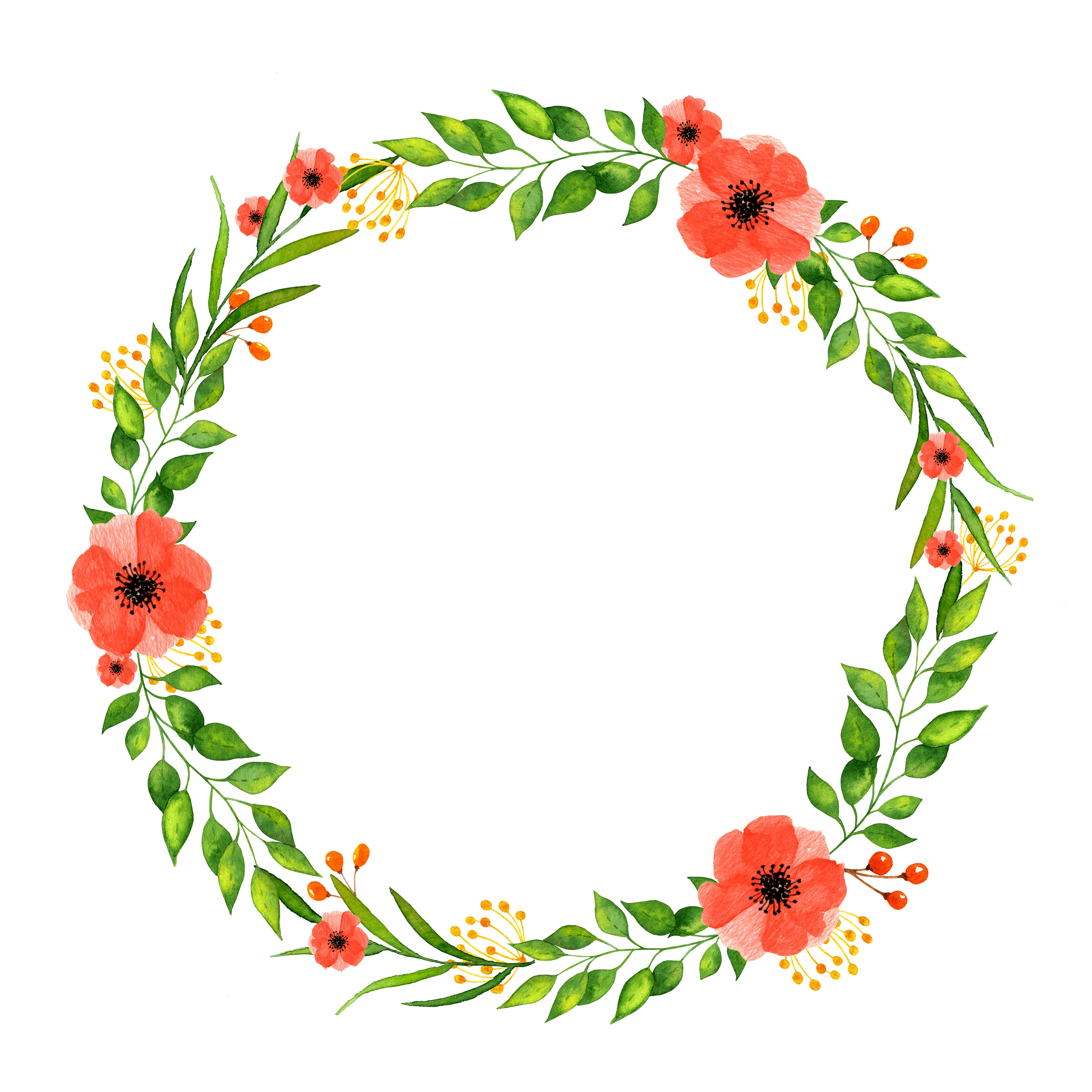Red Summer Flowers Wreath Clipart Poppies Berries And Green Etsy Paper Texture Background Watercolors Flower Wreath Clip Art