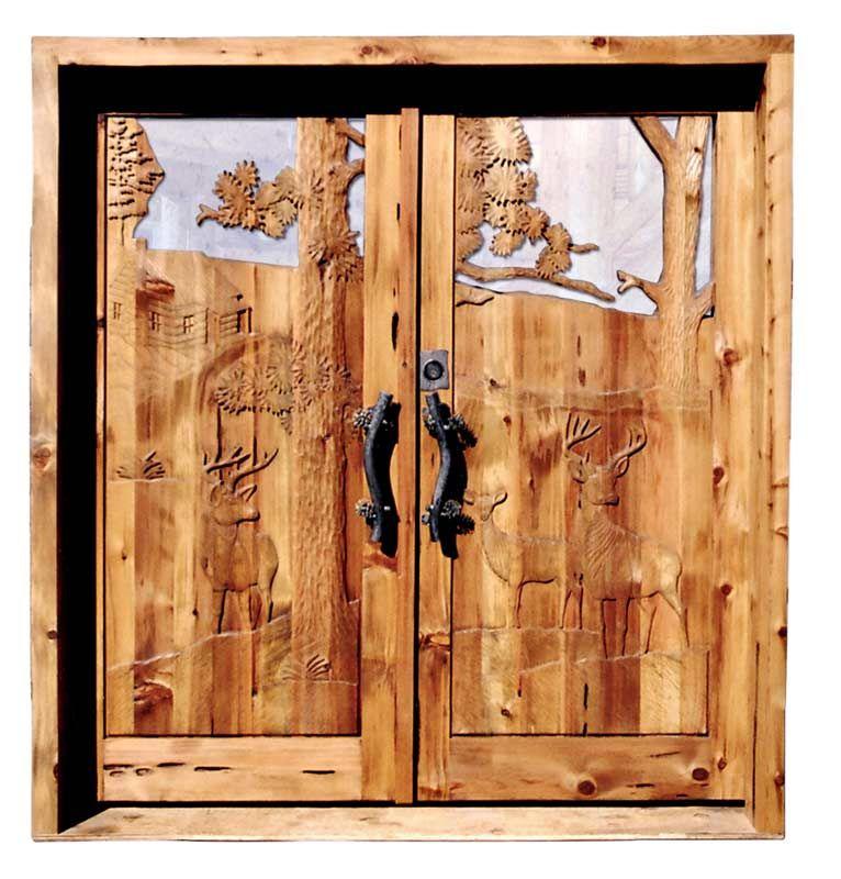 Doors hand carved lodge doors 3341hc front doors for Hand carved wood doors