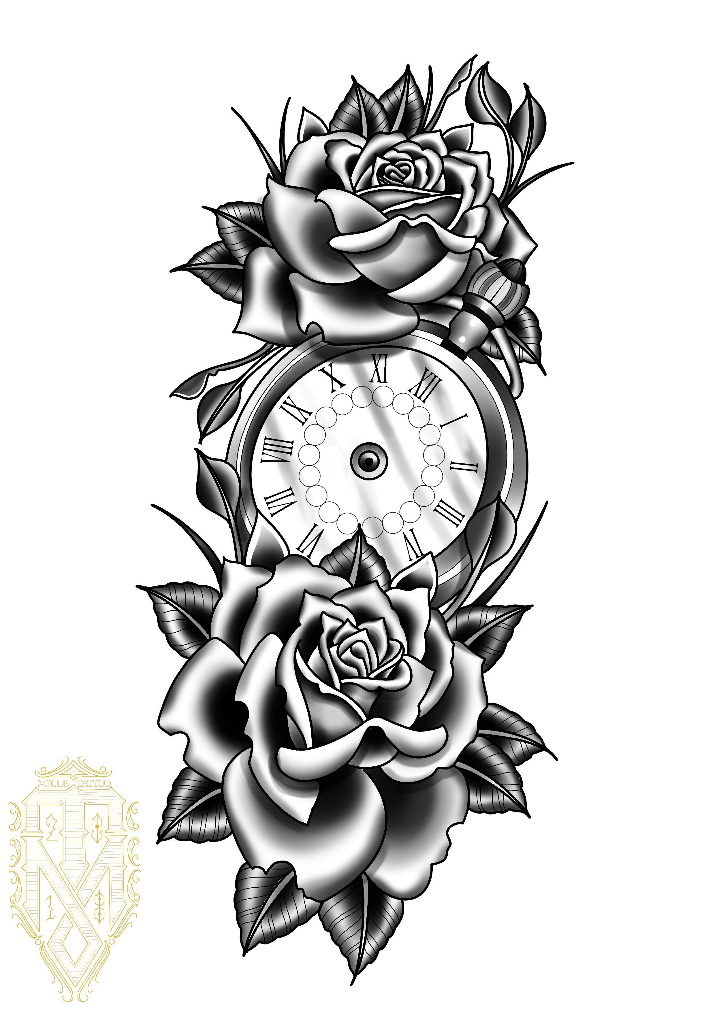 Klok Met Rozen Clock And Rose Tattoo Clock Tattoo Watch Tattoo Design