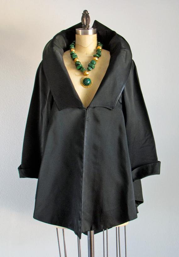 Vintage Black Evening Coat UK 8-10 US 4-6 1950s Black Eveningwear 1950s Vintage Coat Vintage 1950s Evening Coat