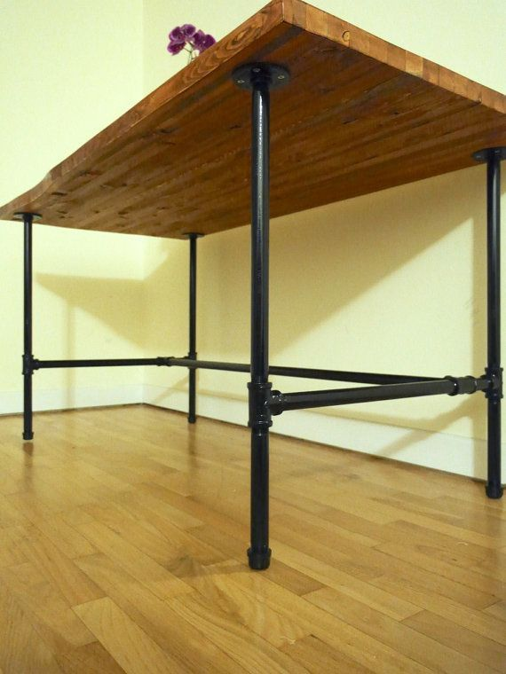 Delightful Industrial Wood Desk / Kitchen / Dining Table With Black Galvanized Steel Pipe  Legs //