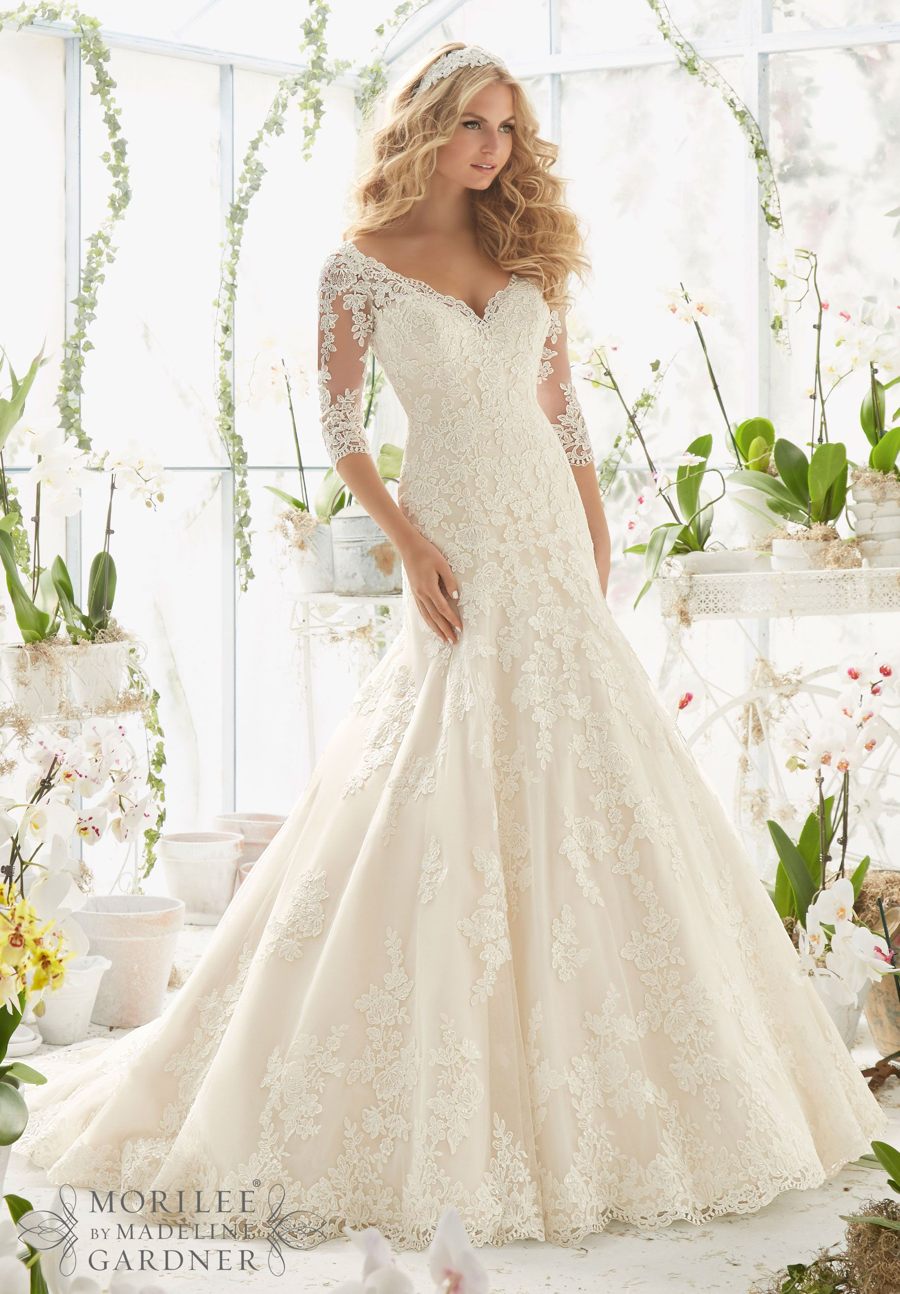 2812 Bridal Gowns / Dresses Alencon Lace Appliques on Net Frosted ...