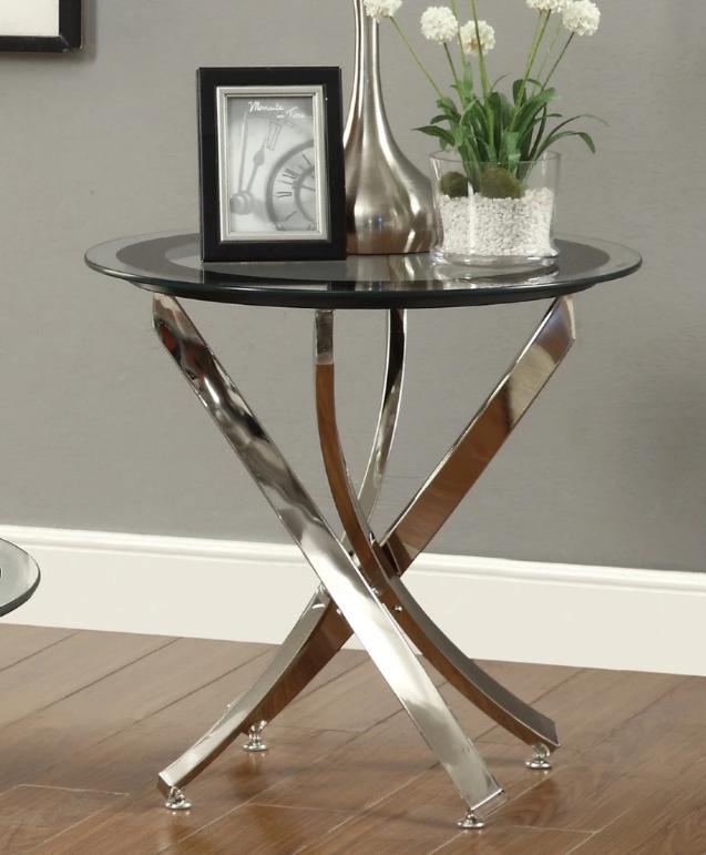 Elegant Black Chrome Round End Table Glass Top End Tables