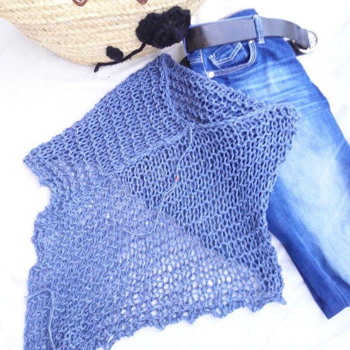 Denim on denim. Last unit of this knitted poncho 100% cotton. I love ...
