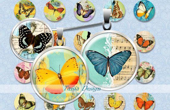 Digital Collage Sheet Circle  Vintage Butterflies  от TaniaDesign