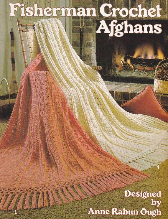 Fisherman Afghan Crochet Pattern - 6 Designs Aran Cable Look   Must ...
