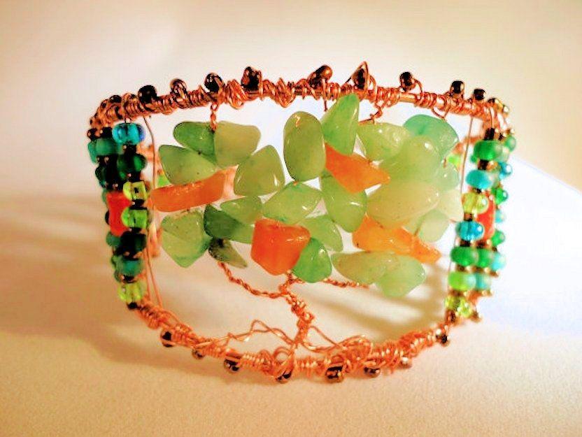 Tree of Life Carnelian Aventurine Copper Wire Wrap Cuff Bracelet