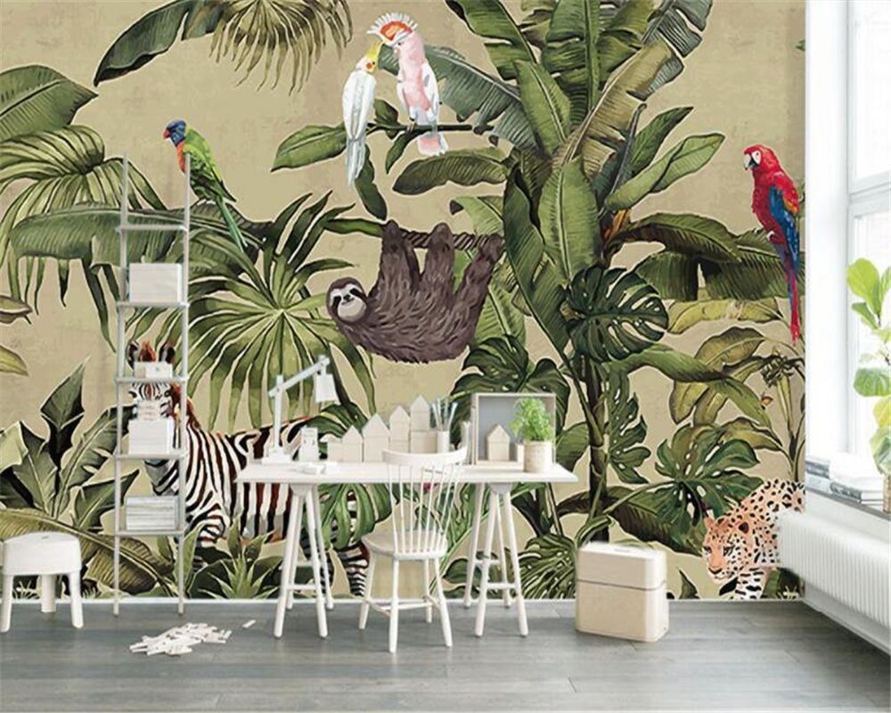 Beibehang Photo Wall Mural Wallpaper Retro Tropical Rainforest Animal Palm Leaf Living Room Tv Wall Wallpaper Pap Mural Wallpaper Wall Wallpaper Tree Wallpaper