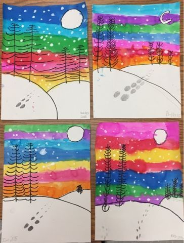 Winter landscapes by 1st grade - one day project (Mrs. Knight's Smartest Artists) - #1st #Artists #Day #grade #Knights #landscapes #Project #Smartest #winter #winterlandscape