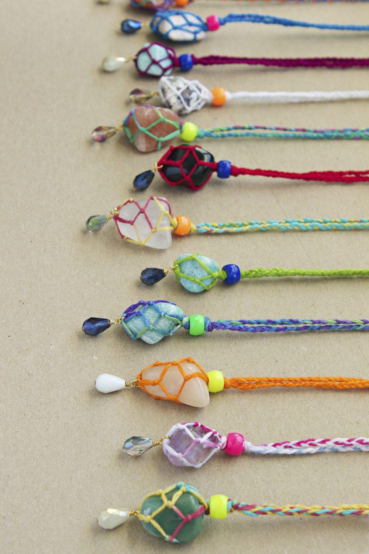 wrapped rainbow gemstone necklaces