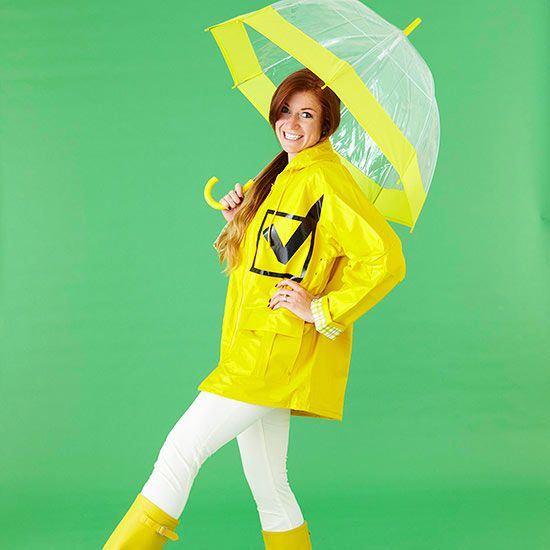 Make an easy rain check halloween costume this year! More ideas you'll love: http://www.bhg.com/halloween/costumes/easy-halloween-costumes-for-adults-and-kids/