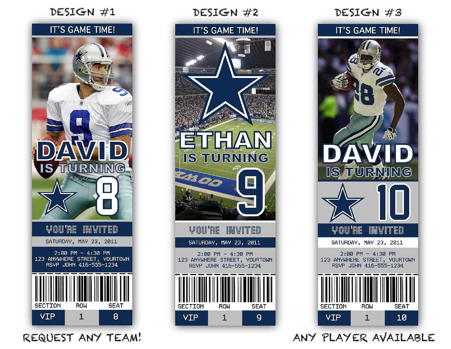 NFL Dallas Cowboys Birthday Party Game Ticket by artyPARTYshop – Dallas Cowboys Party Invitations