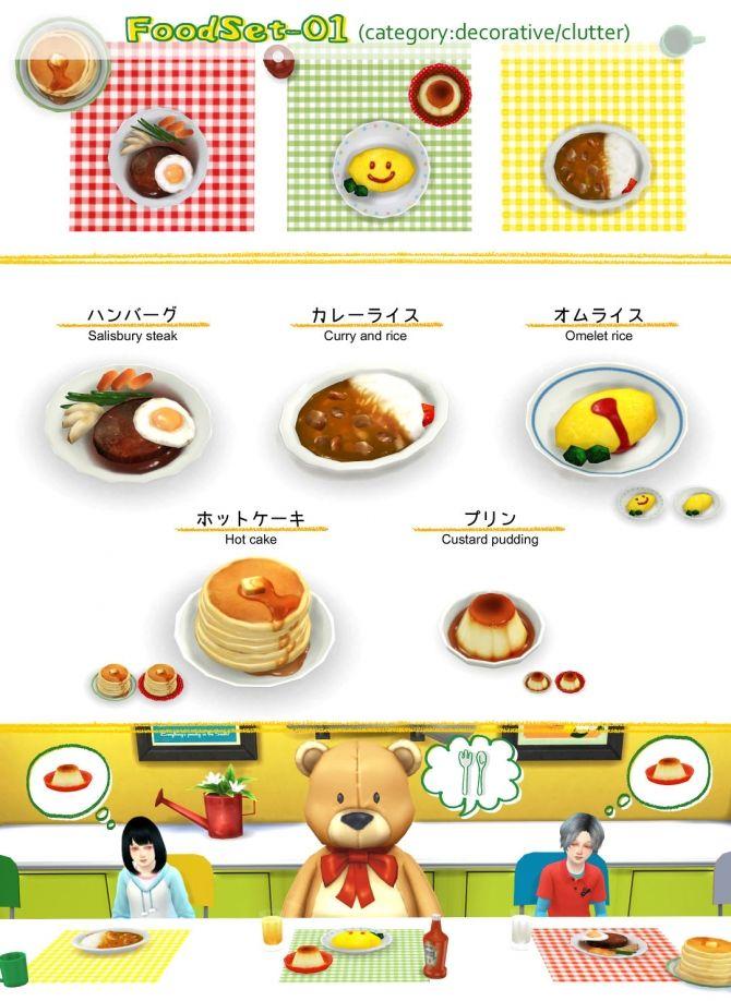 Food set 01 at Imadako • Sims 4 Updates | Sims 4 Clutter <3