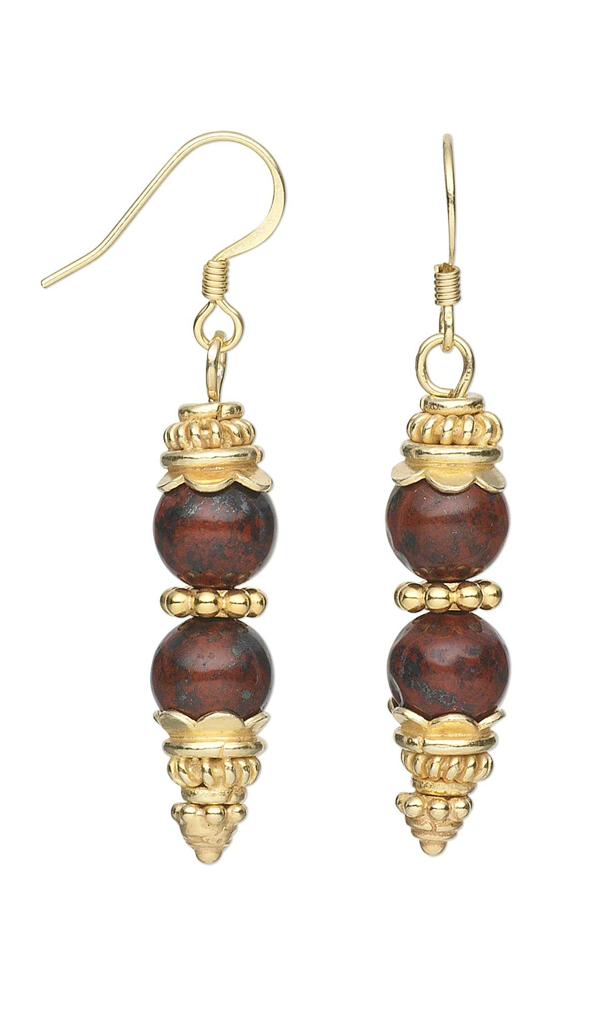 Jewelry Design - Earrings with Brecciated Jasper Gemstone Beads and ...