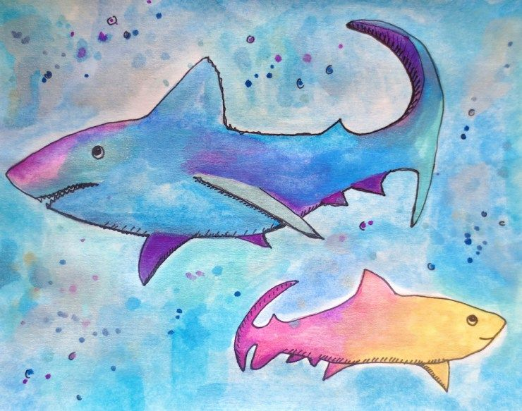 Watercolor Sharks and Free Shark Drawing Guide Coloring Pages - copy coloring page of a tiger shark