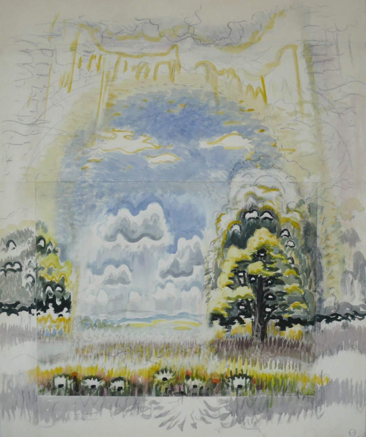 Charles Ephraim Burchfield (1893-1967) Blue Dome of June (1955-1963) watercolor. charcoal and white chalk on joined paper 60 x 50 in