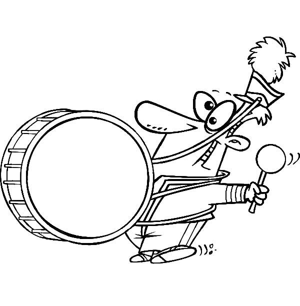 Drummer Boy Chased By His Dog Coloring Pages
