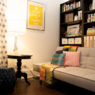 Office Guest Room Like The Bookshelves Behind Futon