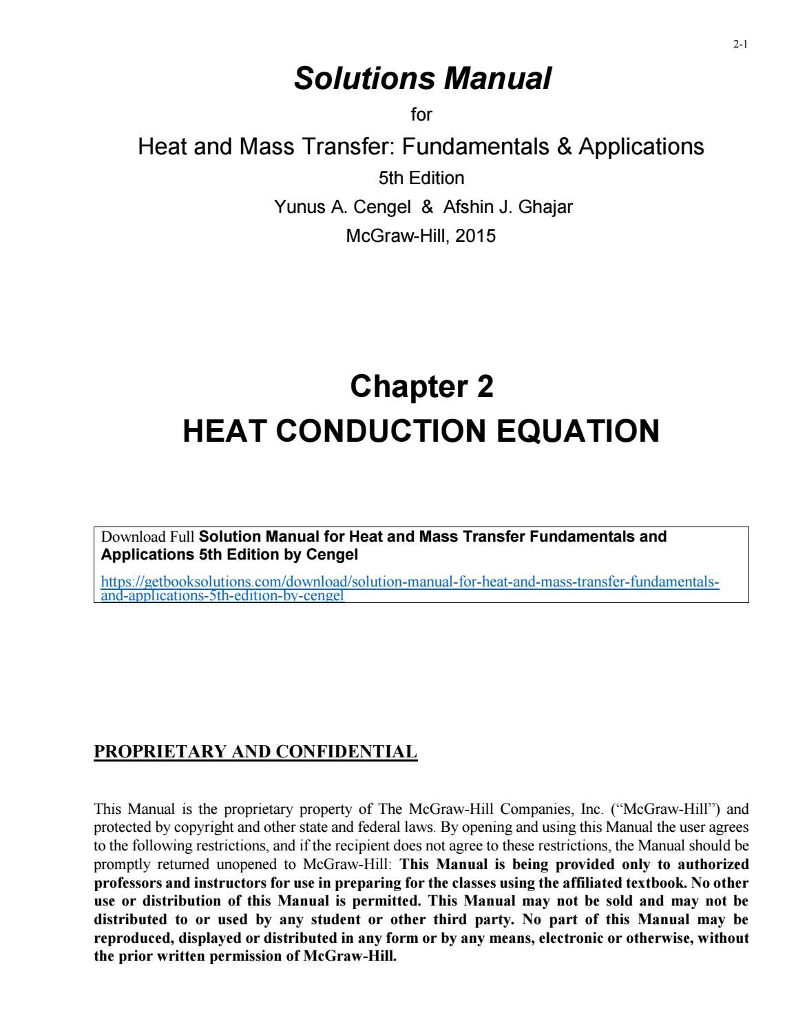 Solution manual for heat and mass transfer fundamentals and applications 5th  edition by cengel