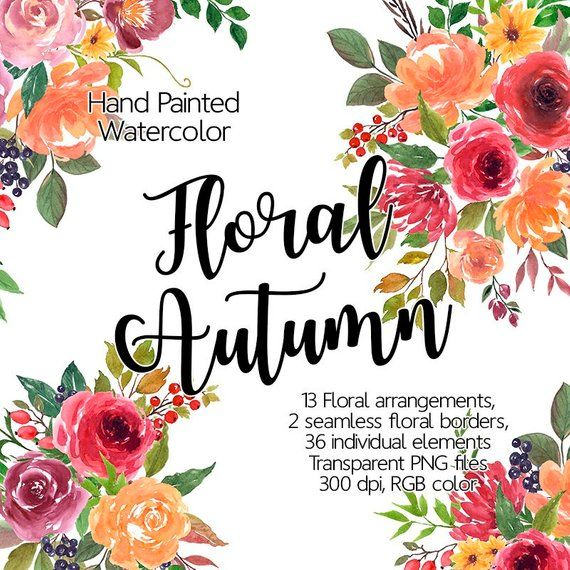 picture about Watercolor Floral Border Paper Printable named Watercolor Flower Clipart - Autumn, Printable bouquets