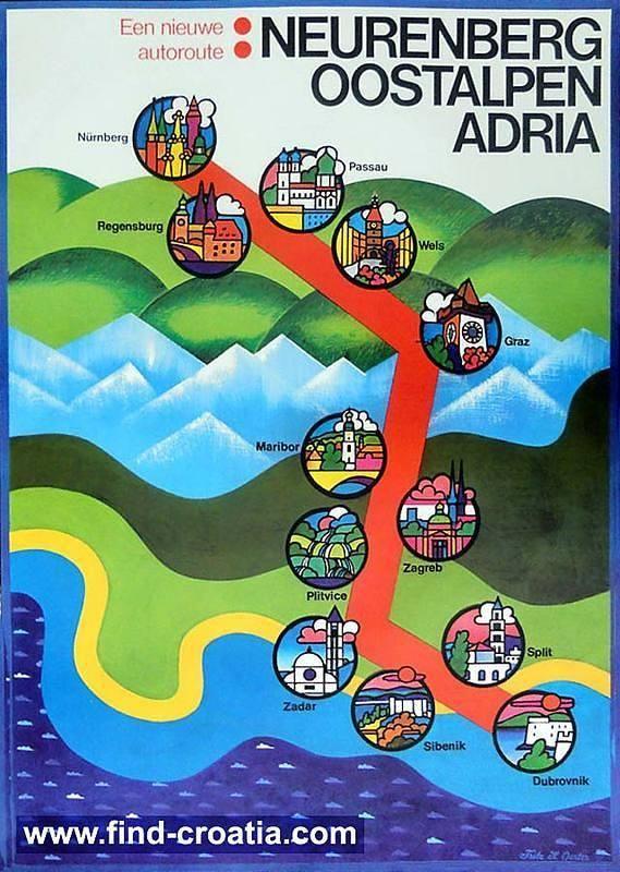 A Lovely 1970s New Motorway Poster Alpe Adria Nurnberg Regensburg Passau Wels Graz Maribor Zagreb Plitvice Z Vintage Travel Posters Dubrovnik Zagreb