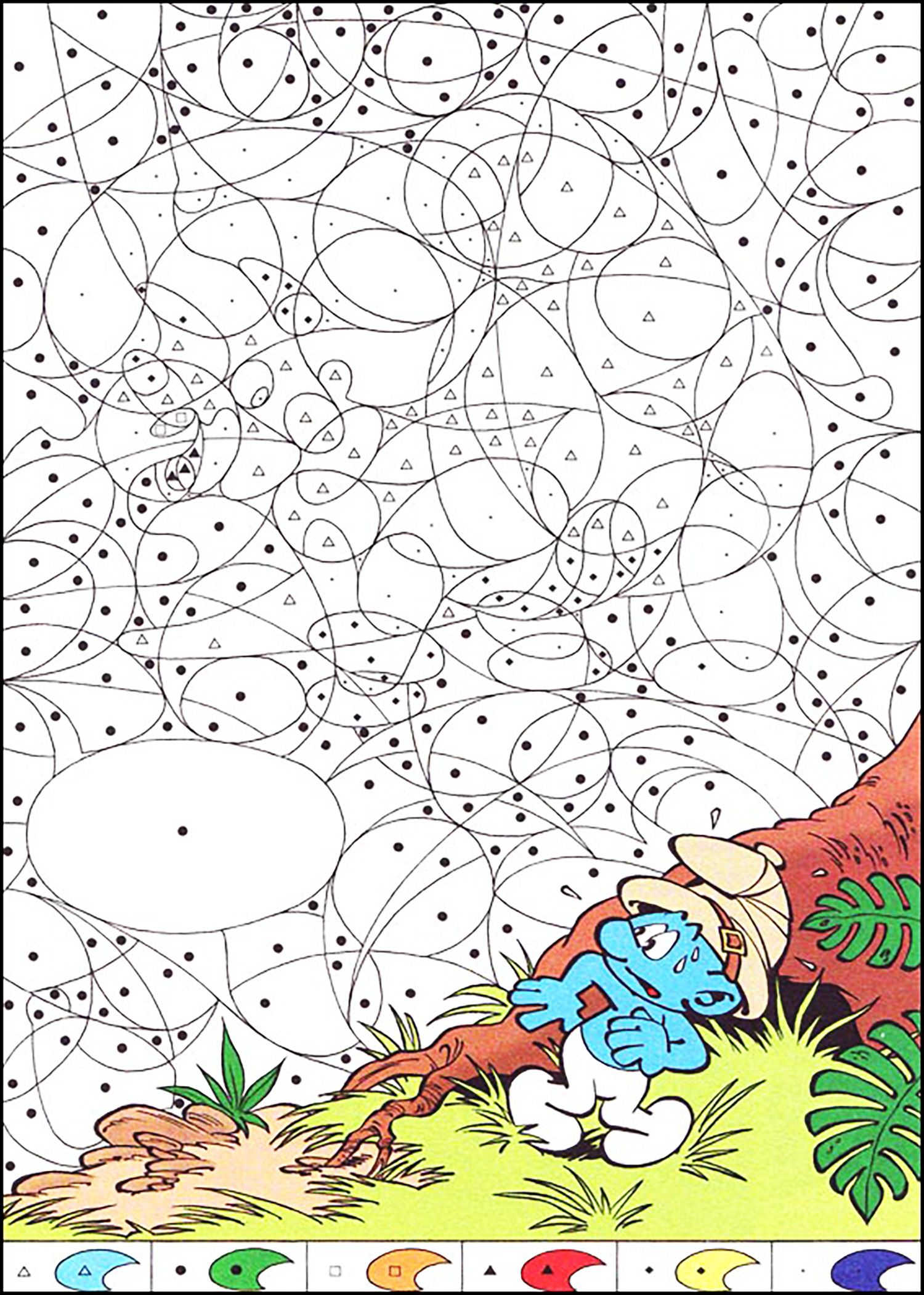 Magical Coloring Page For Kids With The Smurfs From The